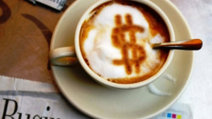 Thumb morning coffee with money sign feat